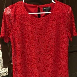 Red lace Liz Claiborne Shirt